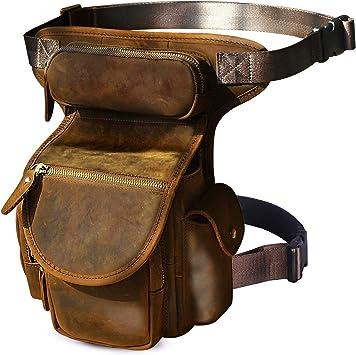 Leaokuu Hombres Bolsa táctica Bolsa de Escalada Cinturón Bolso Cinturón Fanny Paquete de la Cintura Bolsa de la Pierna caída Bolso Mensajero de Cuero ...