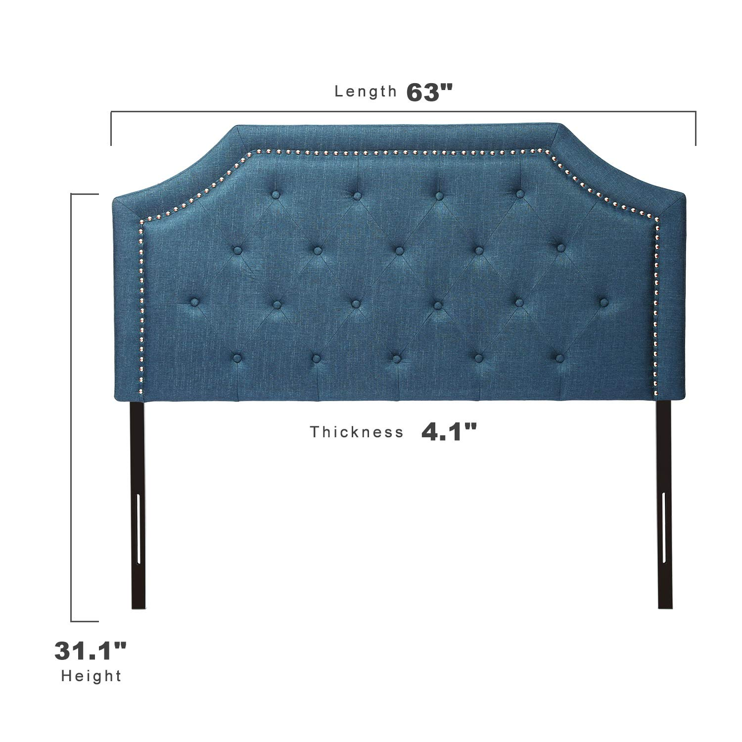 Black Rivet Surround /& Button Tufted D/écor Headboard HOME BI Upholstered Headboard Full//Queen