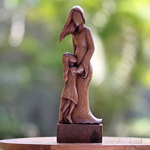 NOVICA 182525 Mother and Daughter Wood Sculpture