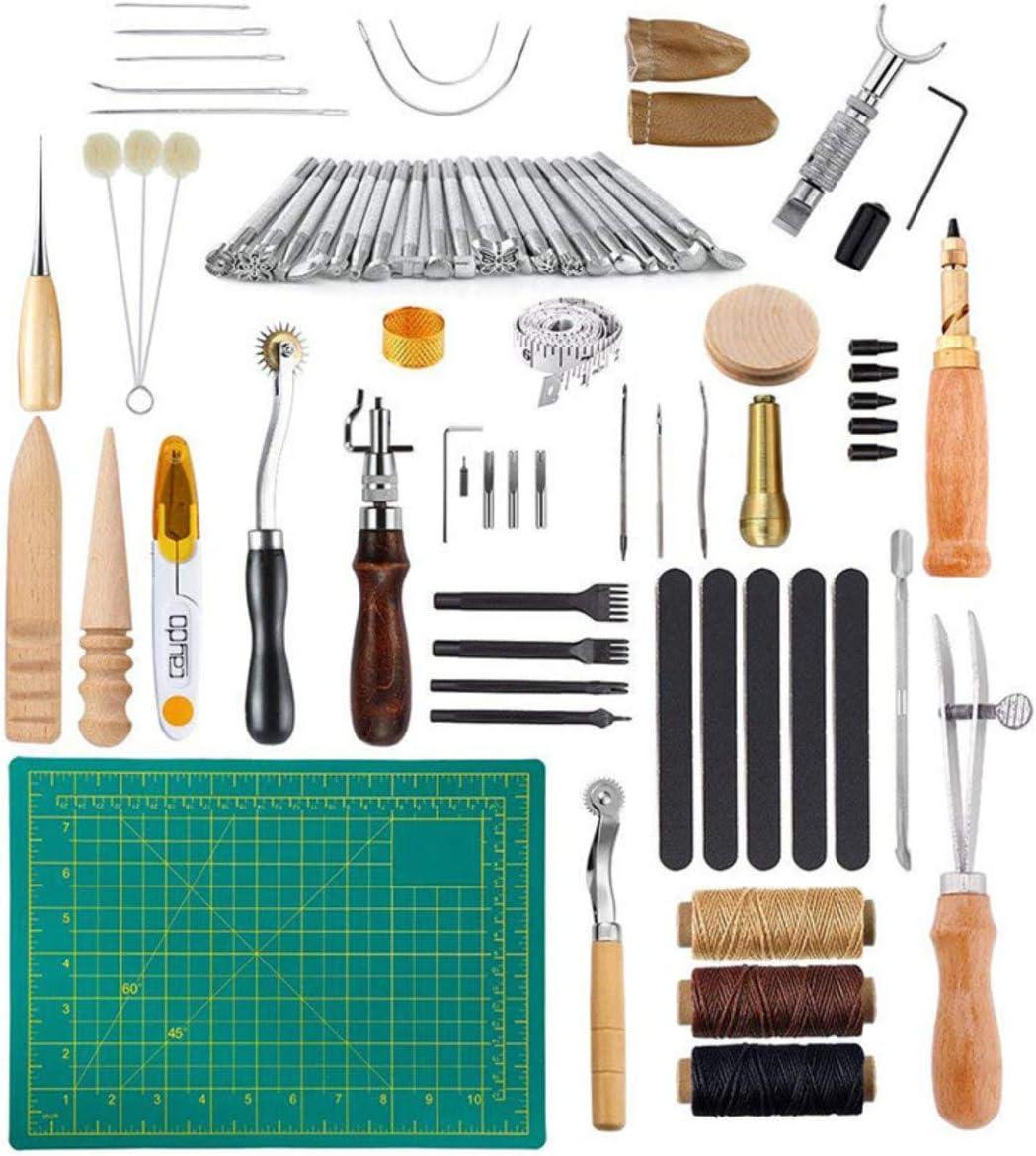 Beunyow 50 Piezas Kit de Herramientas de Coser de Cuero Artesanía de Costura Manual de Bricolaje con Ranurado, Punzón, Hilo Dedal, Aguja de Cuero Punzón de Perfomación Kit de Estampado de Hilo