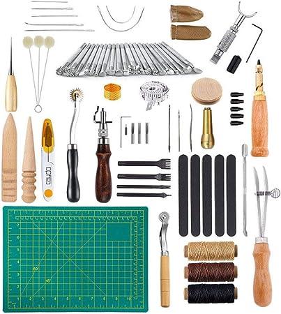 Beunyow 50 Piezas Kit de Herramientas de Coser de Cuero Artesanía de Costura Manual de Bricolaje con Ranurado, Punzón, Hilo Dedal, Aguja de Cuero Punzón de Perfomación Kit de Estampado de Hilo: