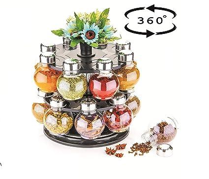 Bright Bulb Shape Transparent Pack of 16 Jar Spice Rack, Spice Container, Masala Box, Spice Box, Masala Rack,Condiment Set