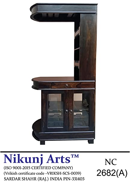 Nikunj Bar Cabinet with 2 Sided Door - Brown