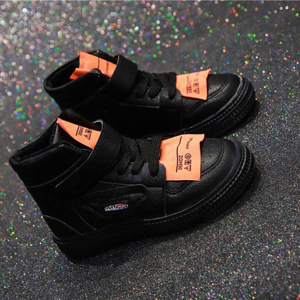 Voberry@ Kids Fashion Sports Shoes Breathable Non-Slip Running High Top Boots+Shoelace Casual Shoes