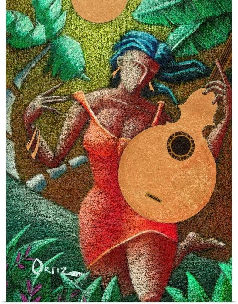 "GREATBIGCANVAS Fantasia Boricua Fine Art Poster Print, Guitar Home Decor Artwork, 18""x24"""