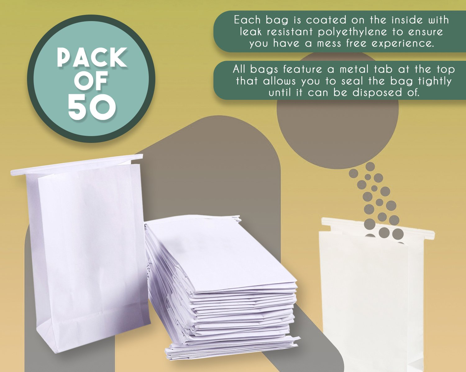 50-Pack Vomit Bags - No Print Plain White Emesis Barf Bags for Motion Sickness and Morning Sickness, Paper Puke Bag, 6 x 2.6 x 9.7 inches by Juvale (Image #4)