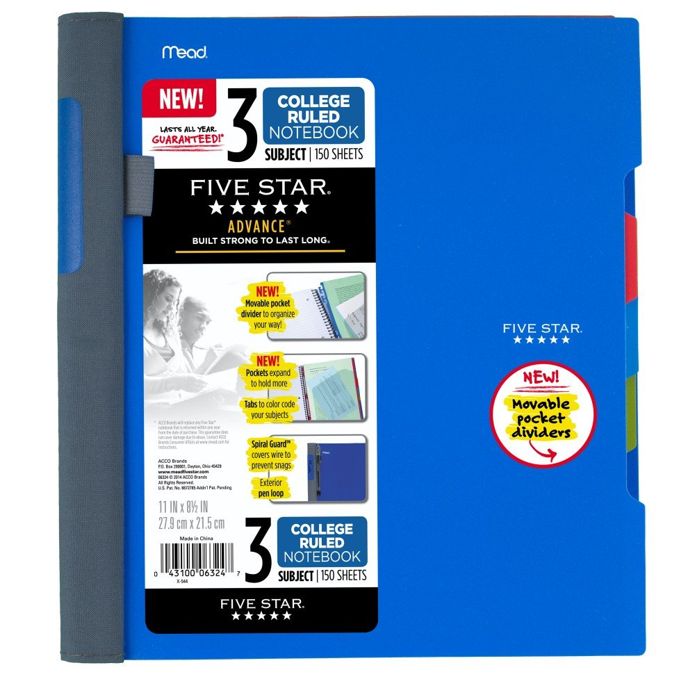 Five Star Advance Spiral Notebook, 3 Subject, College Ruled Paper, 150 Sheets, 11'' x 8-1/2'', Blue (73138) by Five Star