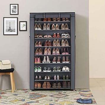 Contemporary Leo style 4 niveaux étagère à chaussures armoire étagère Organisateur élégant Gris