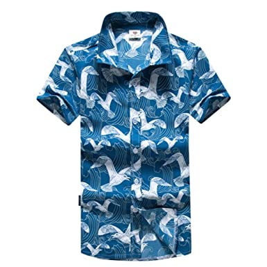 c6cadd00 Amazon.com: Paymenow Shirts for Men, Clearance Summer Short Sleeve Polo  Slim Fit Casual Birds Print Button Hawaiian Beach Tops Blouse: Clothing