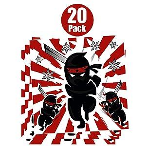 Ninja Samurai Warrior Stickers for Kids (20 Pack) - Boys Birthday Party Favor Stickers - Ninja Party Supplies - Reward Stickers - Student Classroom Prizes
