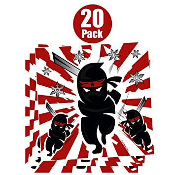 Ninja Samurai Warrior Stickers for Kids (20 Pack) - Boys Birthday Party Favor Stickers - Ninja Party Supplies - Reward Stickers - Student Classroom ...