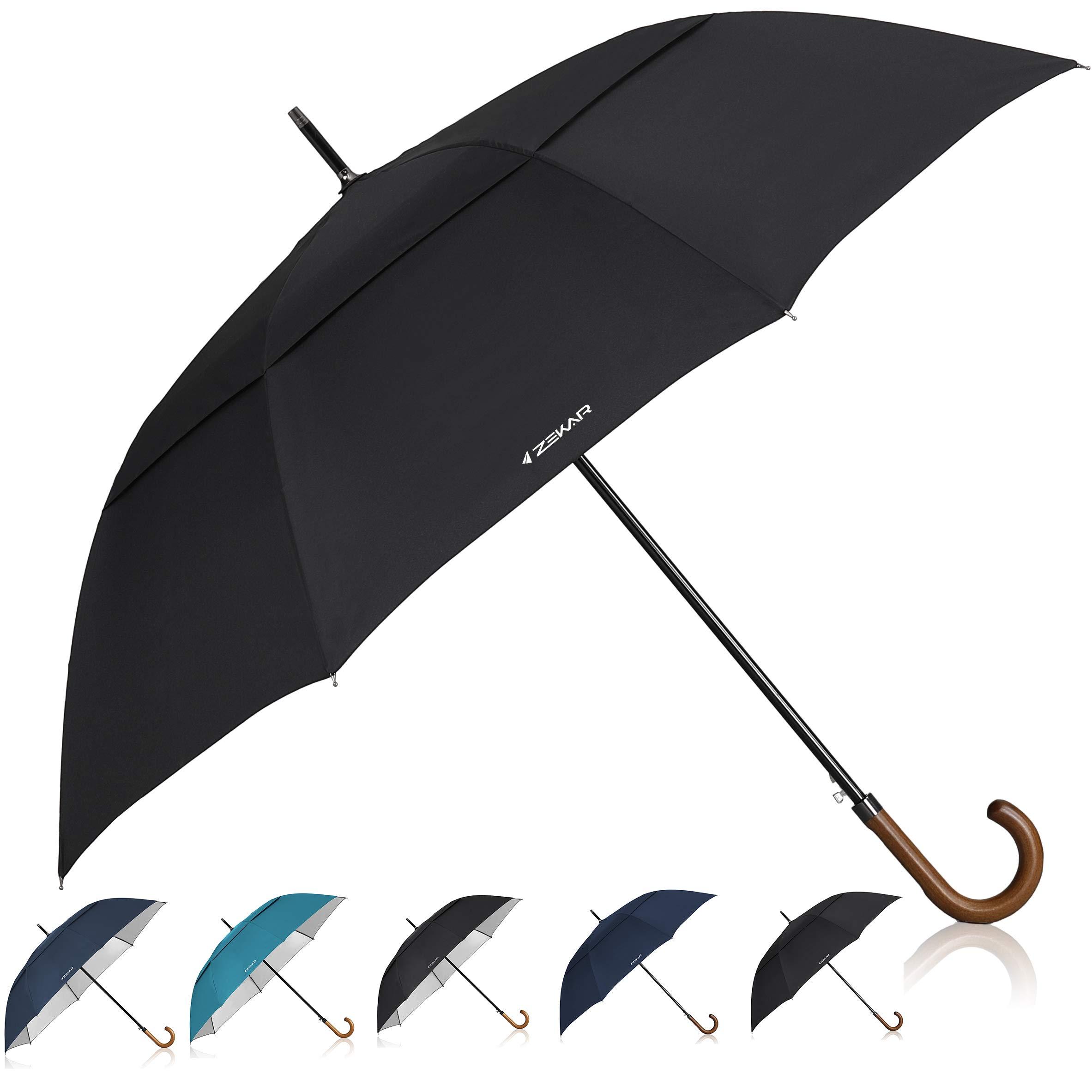 ZEKAR 60 inch Wooden J Handle Golf Umbrella, Classic Double Canopy Windproof Large Auto Open Rain Stick Umbrellas (60inch-Black)