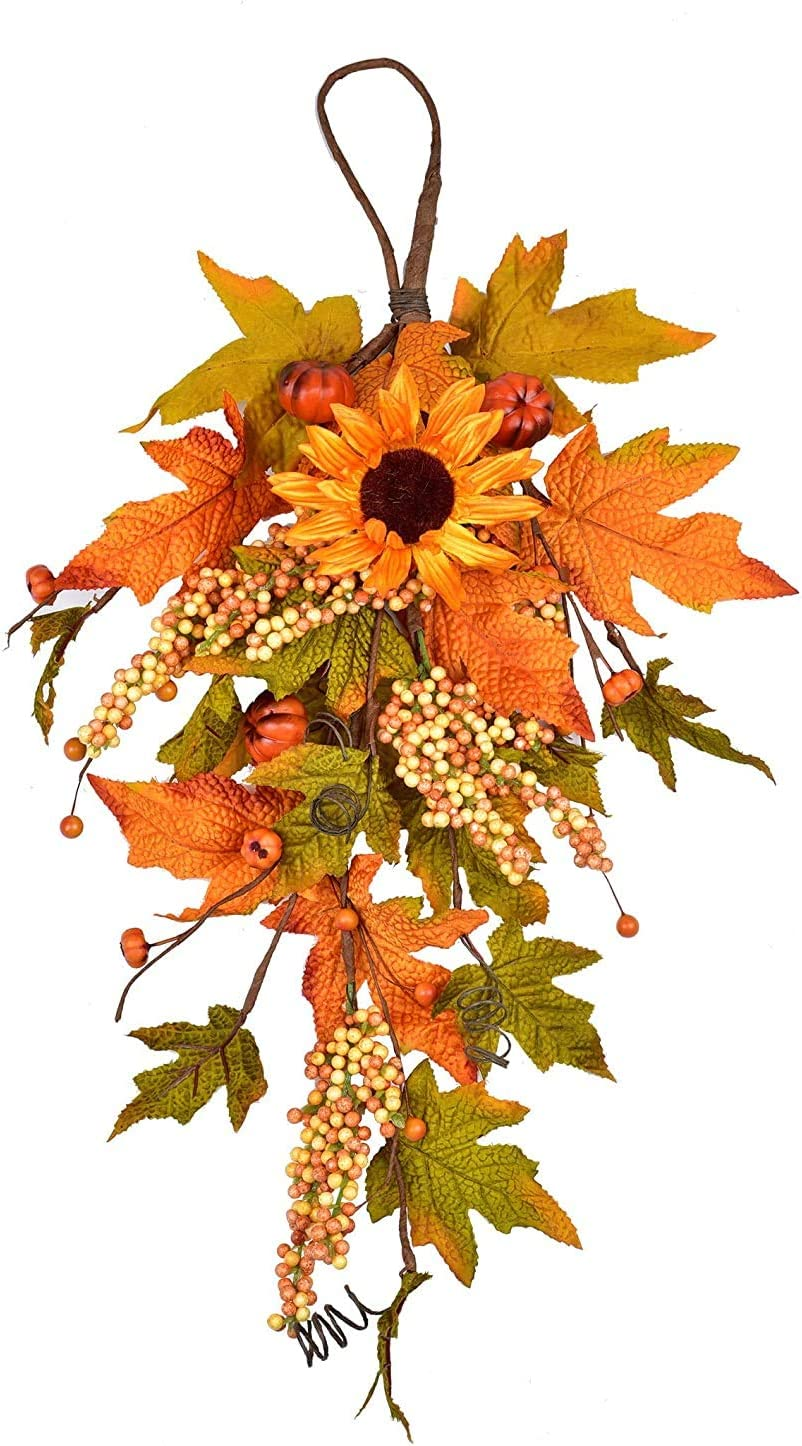 """LSKYTOP 23"""" Artificial Sunflowers Pumpkins Maple Leaves Berries Fall Harvest Swag Autumn Swag for Thanksgiving Christmas Halloween Wall Fall Decor"""