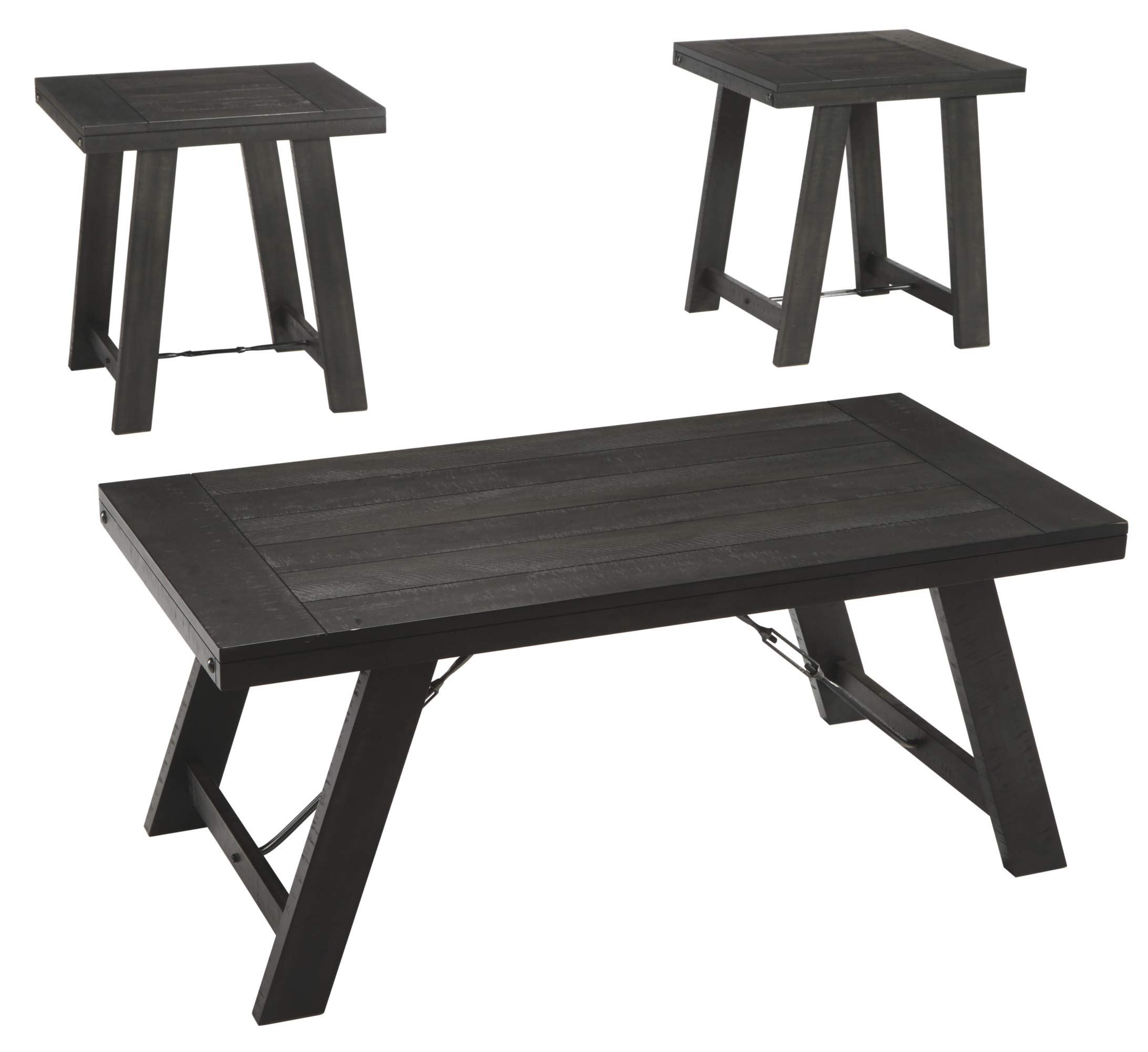 Ashley Furniture Signature Design - Noorbrook Occasional Table Set - Set of 3 - Farmhouse - Black by Signature Design by Ashley