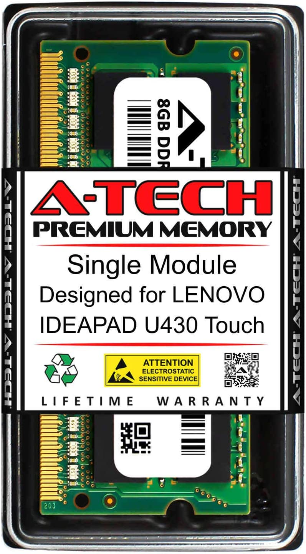 A-Tech 8GB RAM for Lenovo IDEAPAD U430 Touch | DDR3 1600MHz SODIMM PC3-12800 204-Pin Non-ECC Memory Upgrade Module