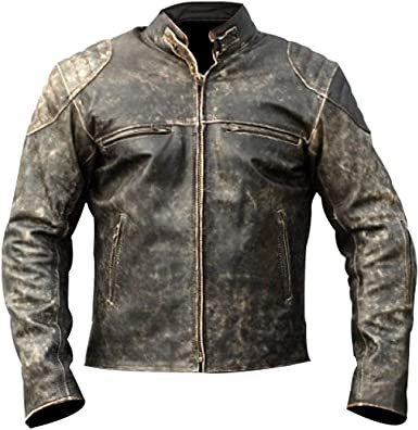 Mens Biker Vintage Distressed Black Cafe Racer Motorcycle Black Leather Jacket