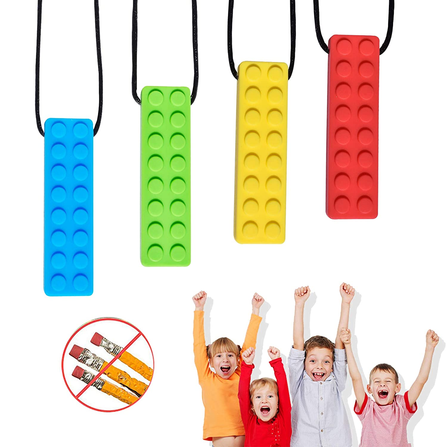 Chew Necklace, Autism Chew Necklace (4PCS), Sensory Necklace Set, Chew Necklaces for Sensory Kids, for Biting Needs, Autistic, ADHD, Oral Motor (100% Food Grade Silicone), for Boys and Girls