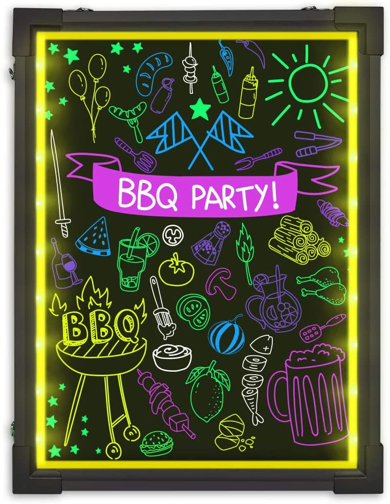 MBQMBSS LED Message Writing Board 16 X 12 Illuminated Light Erase Board Acrylic Led Message Board Outdoor Erasable Lighted Letter Board Menu Sign Board with Remote Control/&8 Colors Chalk Marker