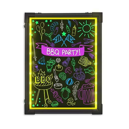 Hosim LED Tablero de mensajes, 30 cm * 40 cm. Efecto neón iluminado. Menú del restaurante. Letrero con 8 colores. Marcadores, 7 colores. Intermitente. ...