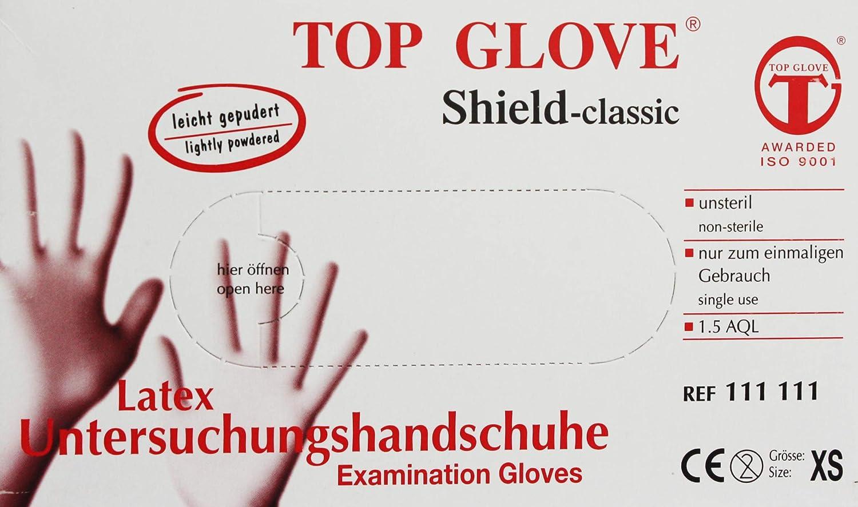 Shield Classic Lot de 100 Gants en Latex l/ég/èrement poudr/és Blanc