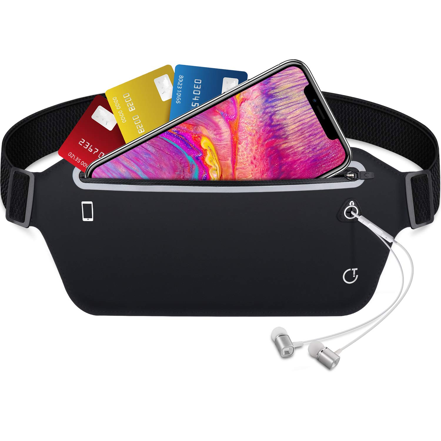 Gritin Running Belt  Waist Pack Fitness Belt W Headphone Hole - Soft Sweat-Proof Fabric and Adjustable Elastic Strap for Waist Curve and Convenient for Running