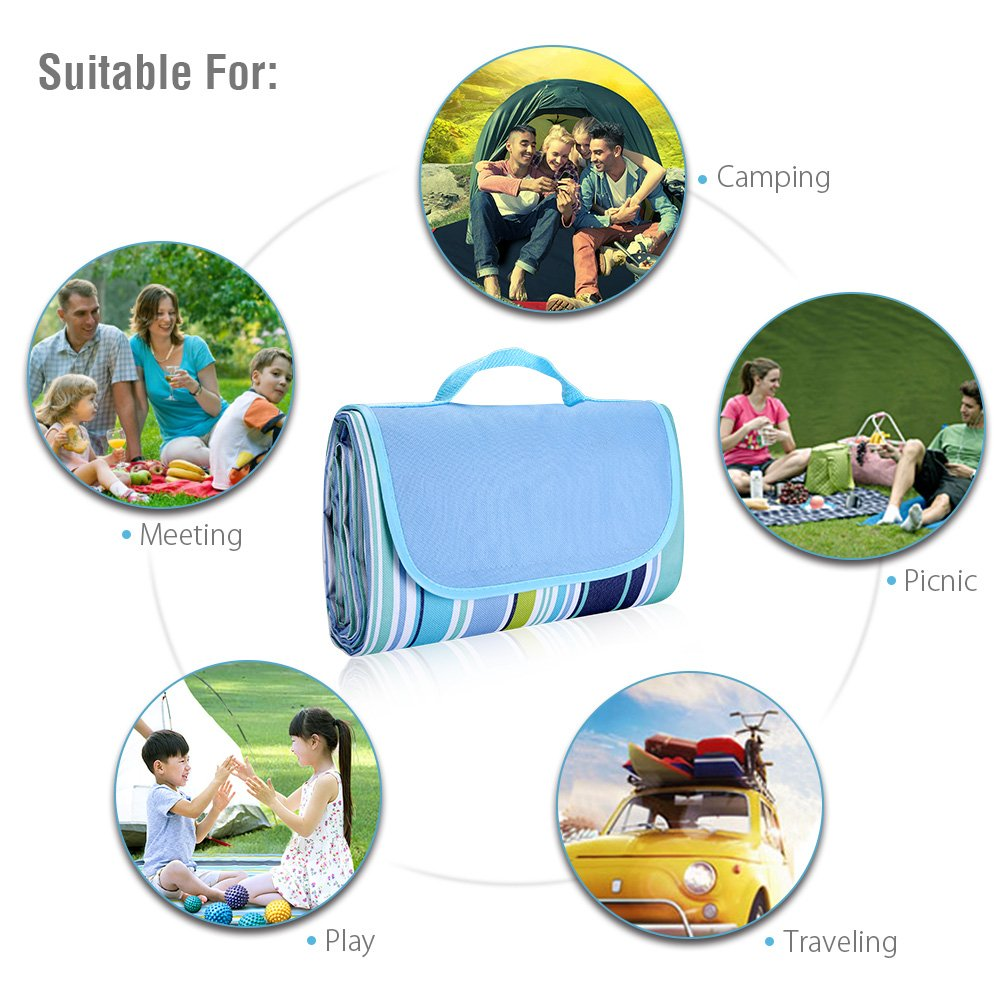 isYoung 145*200 cm Picnic Blanket Waterproof and Durable PVC Picnic Pad Suit for Camping and Beach (Blue)