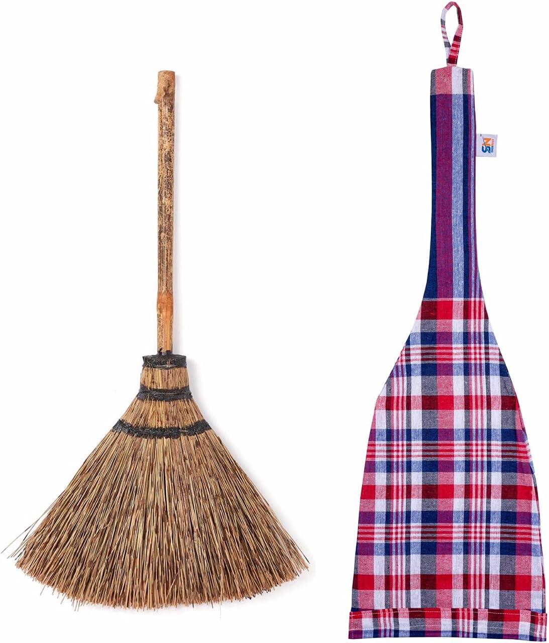 Skennova - 29 inch Tall of Elephant Eyelash Brown Grass Broom Bamboo Stick with Natural Hanger Handle Thai Broom Asian Broom