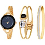 Daimon Women's Wrist Watches with Rose Gold Band 3 Sets Match Any Outfits (Black)