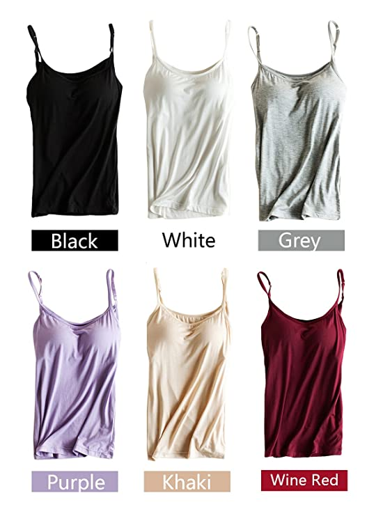 141e1a515af51f PinkWind Bra Padded Cami Tanks Tops for Women at Amazon Women s Clothing  store