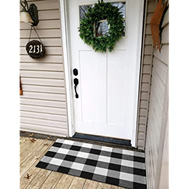 Ukeler Buffalo Plaid Rug 100% Cotton Porch Rugs Black and White Checkered Plaid Door Mat Hand-Woven Washable Rag Rug Floor Mat Outdoor Decor, 23.5'' × 35.4''