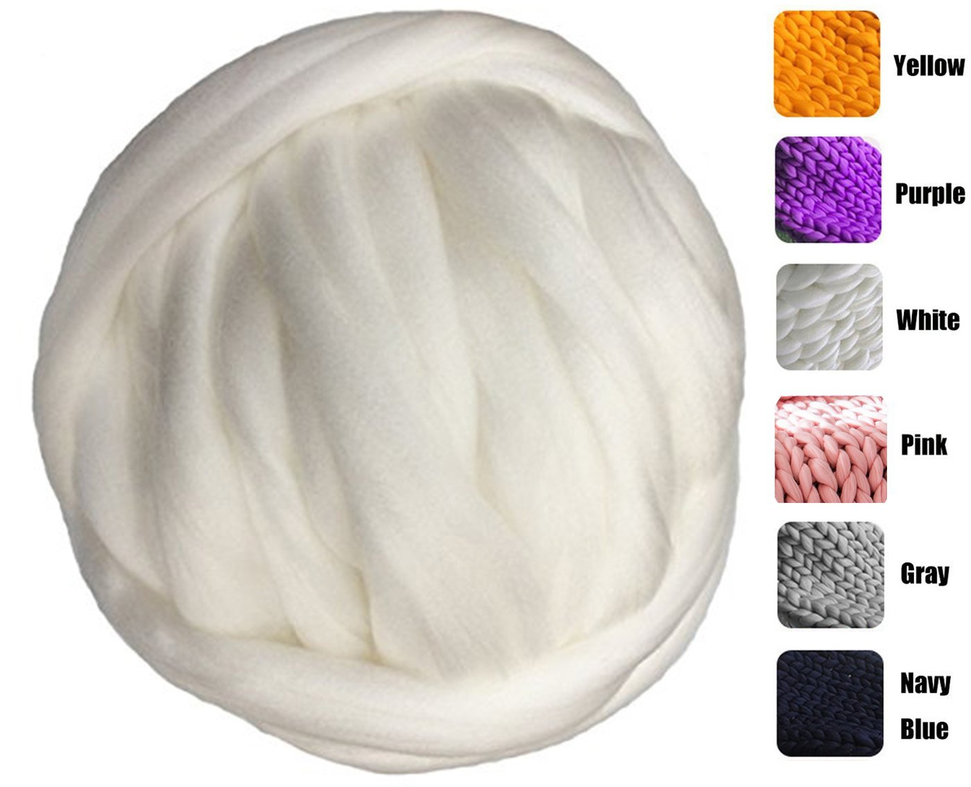 welltree Merino Soft Chunky Blended Wool Yarn For Arm Knitted DIY Your Favorite Thick Blankets ( White - 6.6 lbs )