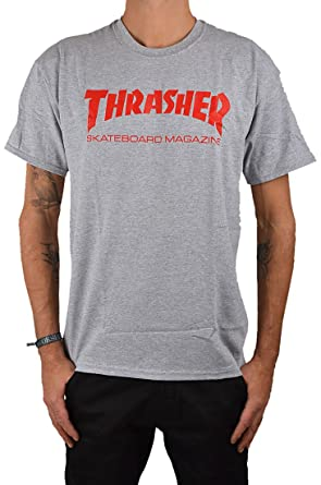 ffb65315f44 Thrasher Hometown heather grey/red T-Shirt: Amazon.co.uk: Clothing