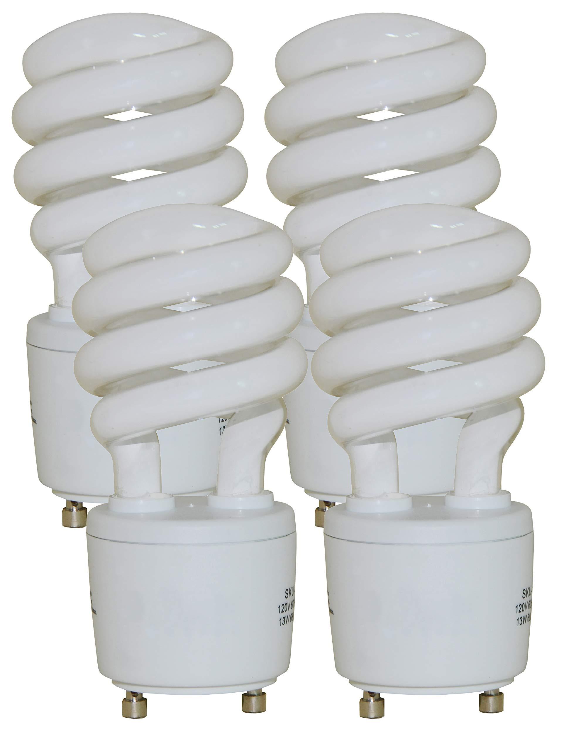 13 Watt Mini Spiral - GU24 Base - (60W Equivalent) CFL Light Bulb - 2700K Warm White - 4pack by CFL Bulb (Image #1)