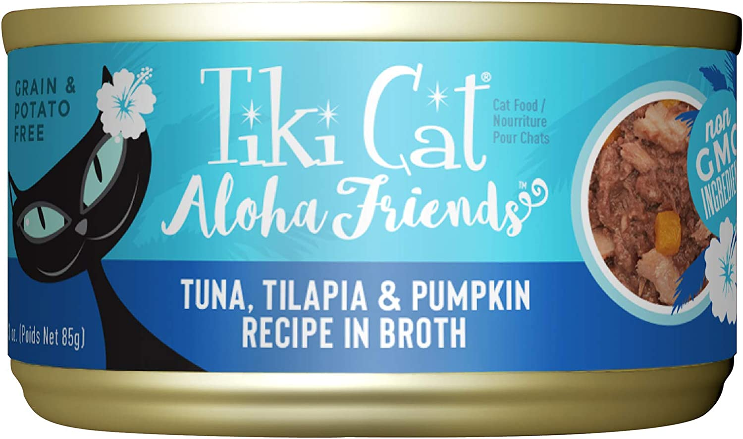Tiki Cat Aloha Friends Grain Free Wet Cat Food for All Life Stages - Seafood with Pumpkin Recipes 3 oz. Cans (Pack of 12)