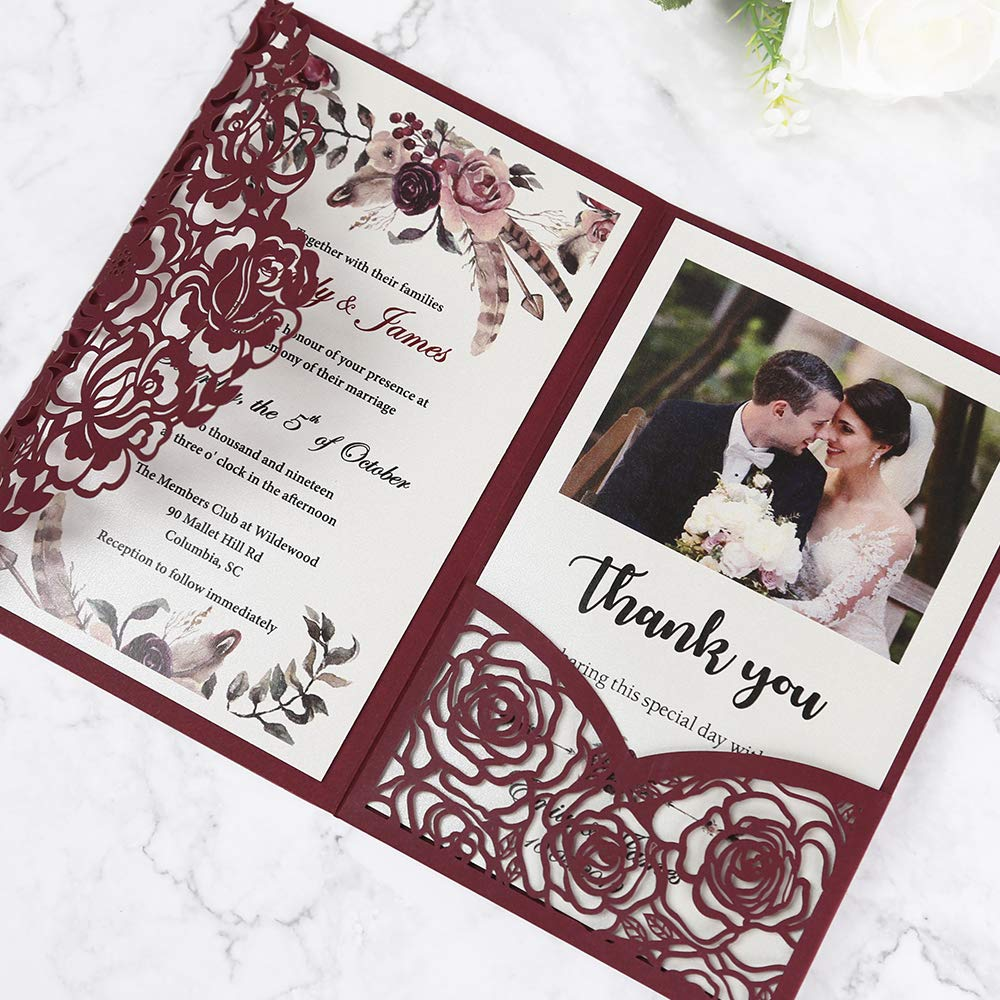 Doris Home 50pcs 4.7 x7.1 inch wedding invitations with envelopes for Bridal Shower Invitations, Dinner Invitations, CW0008 (Burgundy, 50pcs Blank) by Doris Home (Image #3)