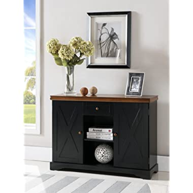 Kings Brand Furniture - Wood Buffet Cabinet Console Table, Black / Walnut