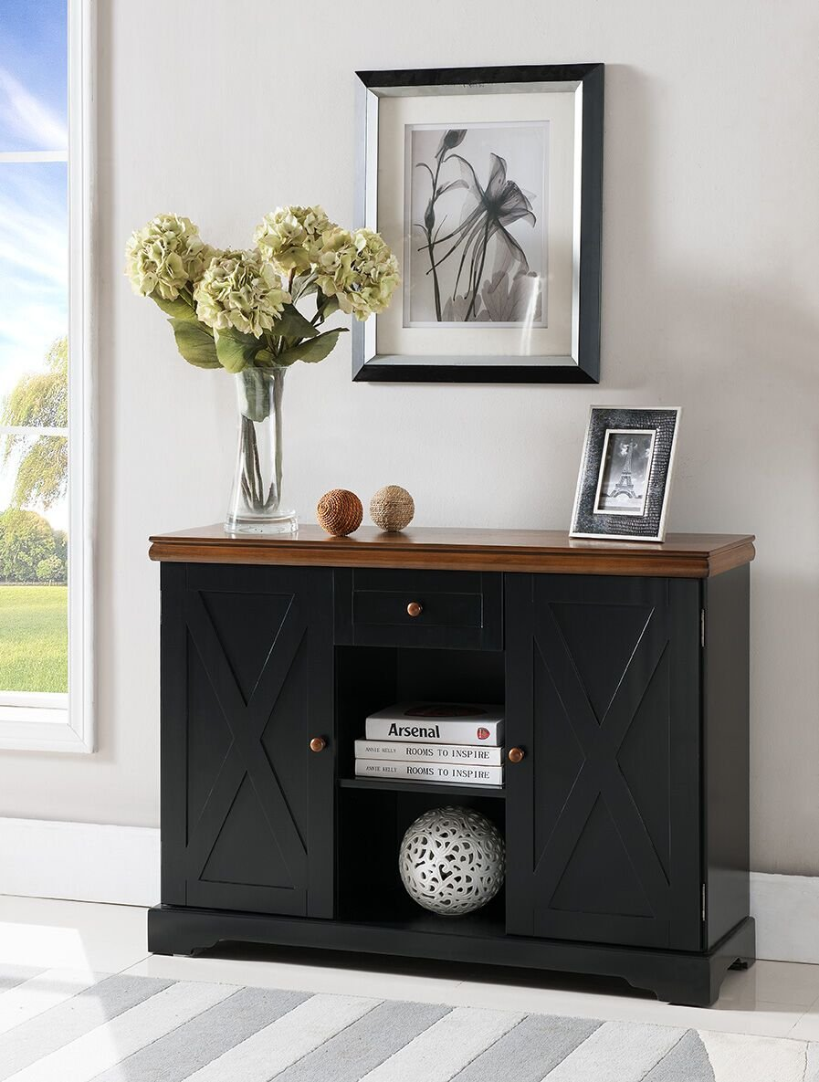 Kings Brand Furniture Wood Buffet Cabinet Console Table, Black/Walnut