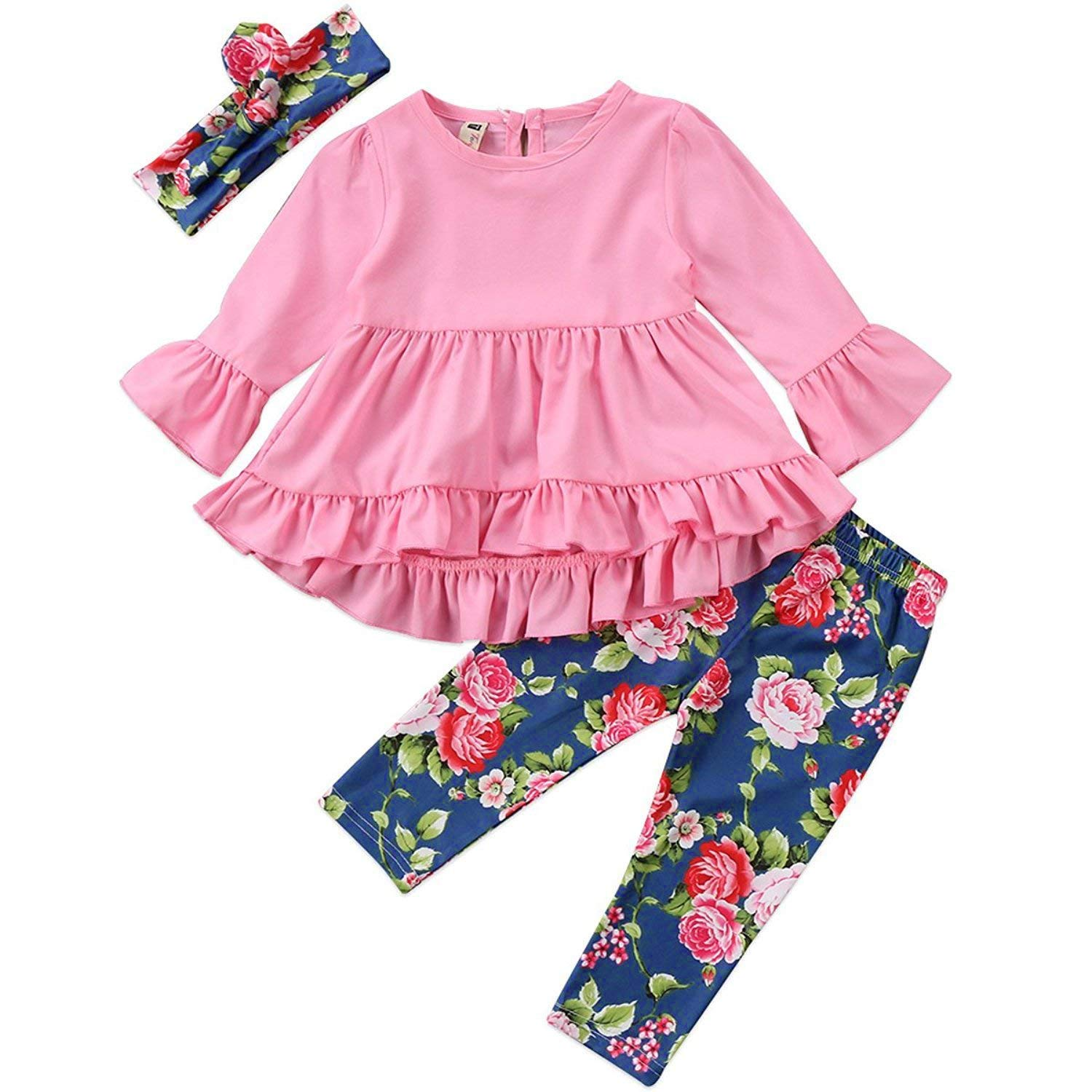 2Pcs Outfits Little Girl Pink Long Sleeve Ruffle Dress T-Shirt Floral Pants Headband/Scarf Sets