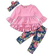Little Girl Pink Long Sleeve Ruffle Dress T-Shirt Floral Pants Headband/Scarf 3 Pcs Outfits Sets, Pink, 70