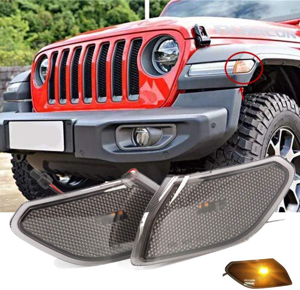 2PCS Car Flashing para Jeep Wrangler JL 2018 2019 Jeep JL Luces de fabricante de lado ahumado Luces de guardabarros delanteras de color /ámbar L/ámpara de se/ñal LED L/ámpara de giro Luz de marcha diurna