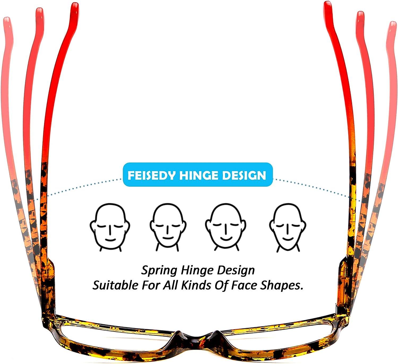 FEISEDY Progressive Multifocus Rectangular Blue Light Blocking Reading Glasses TR90 Frame B2587