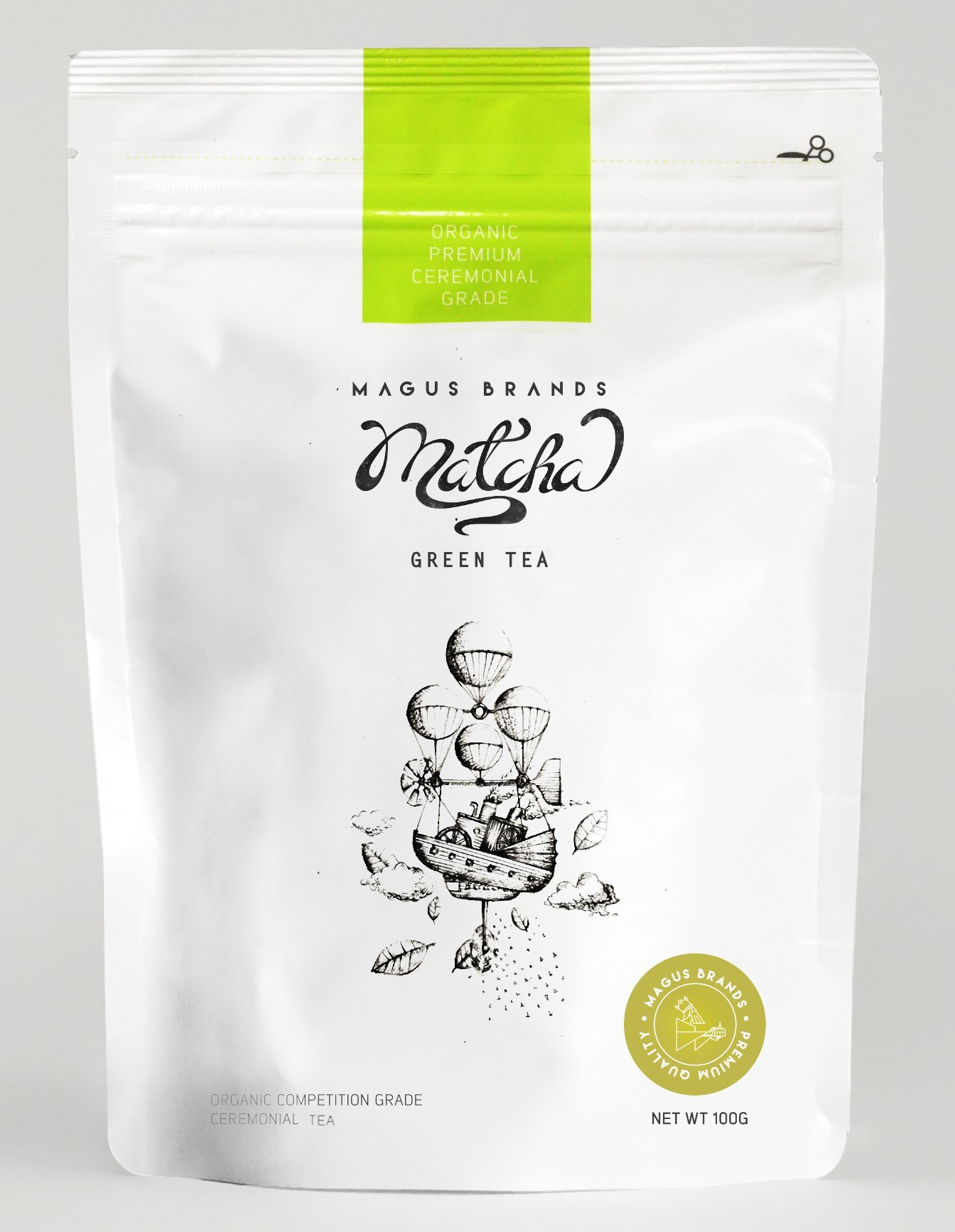 Magus Brands Premium Organic Ceremonial Grade Matcha Green Tea Powder 100g / 3.5oz [USDA Organic][Japan]