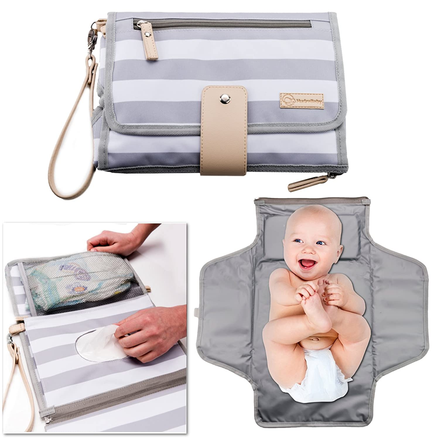 Portable Changing Pad Baby Diaper Station | Newborn Clutch Bag Travel Kit | BPA Free Waterproof Foldable Mat | Wipes Pocket | Infant Registry Shower Gift NurtraBaby