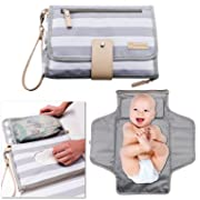 Portable Changing Pad Baby Diaper Station | Newborn Clutch Bag Travel Kit | BPA Free Waterproof Foldable Mat | Wipes Pocket | Infant Registry Shower Gift
