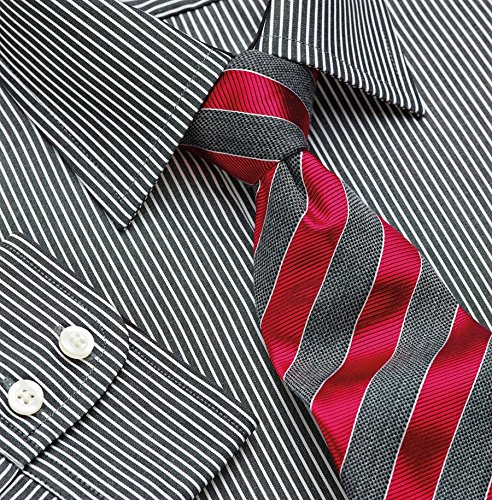 (Brook Taverner Mens Mantova Long Sleeve Casually Shirt (16.5) (Black / White Stripe))