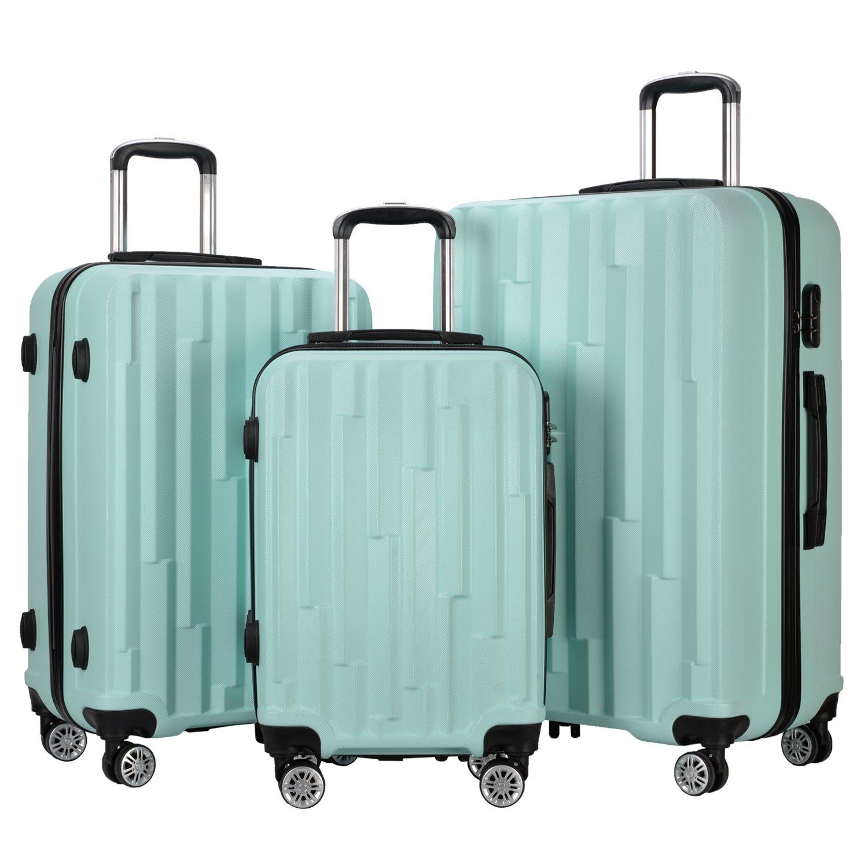 Resena Luggage 3 Piece Set Suitcase Spinner Hardshell Lightweight (Green) by Resena