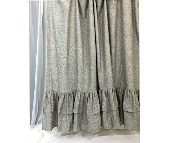 Chambray Grey Curtains With Double Layer Ruffle Hem Custom Made Size FREE