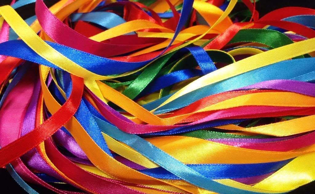 Glitterati 40 metre SATIN Ribbon Pack mixed with assorted colours in Satin, 2.5 m x 2 widths x 8 assorted colours