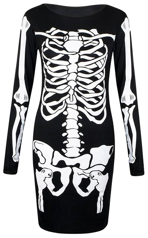 Girls Walk Women's Long Sleeves Skeleton Print Halloween Bodycon Dress