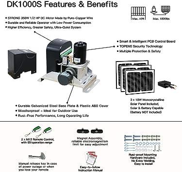 TOPENS DK1000S - Abridor de puerta corredera solar para puerta deslizante de hasta 1 kg y 1 m, 30 W con paneles solares incluidos.: Amazon.es: Bricolaje y herramientas